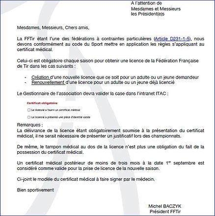 Courrier FFT Procédure Licence.JPG