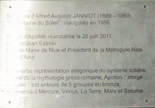 """Plaque """"Fontaine du Soleil"""""""