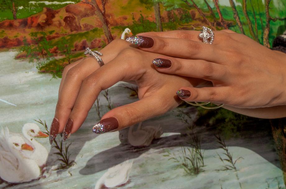 stiletto glitter tip brown nail