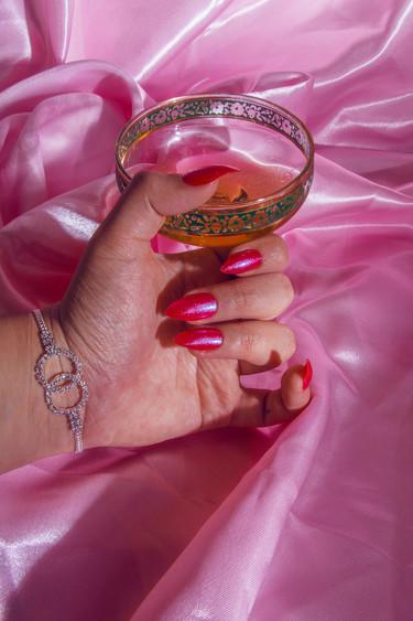 red glitter stiletto tip