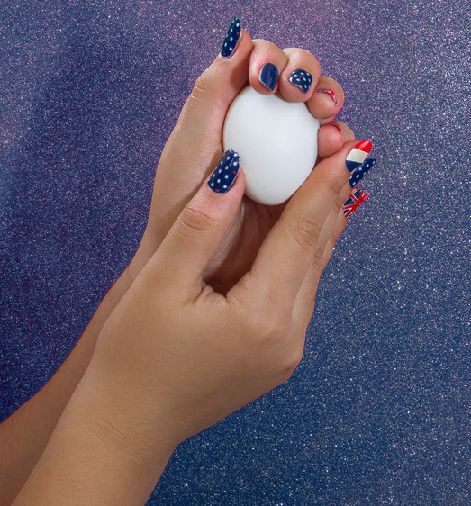 red, white and blue nail sticker