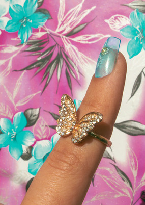 butterfly ring with square tip lace press on