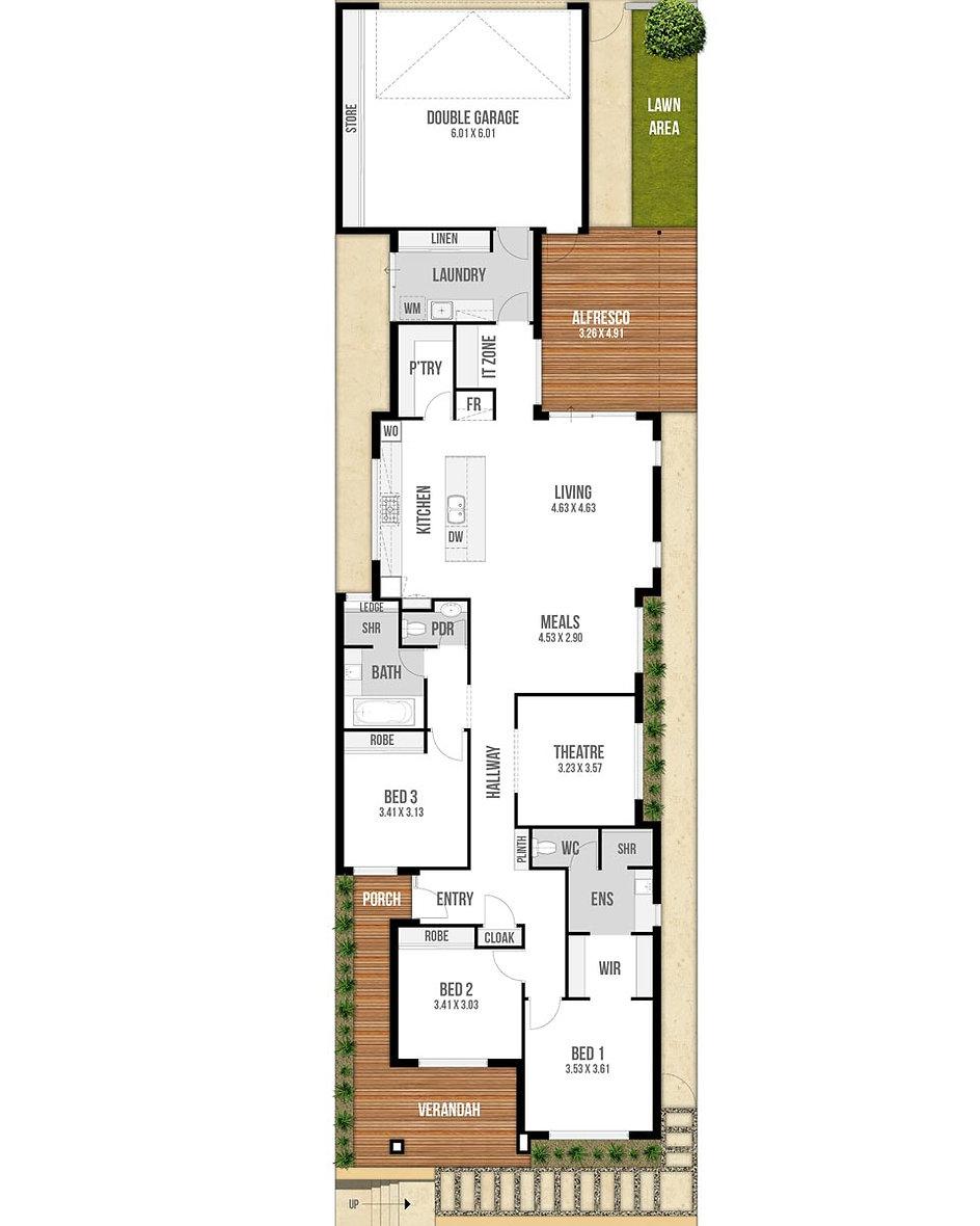 Narrow Lot House Floor Plan - The Freedom by Boyd Design Perth