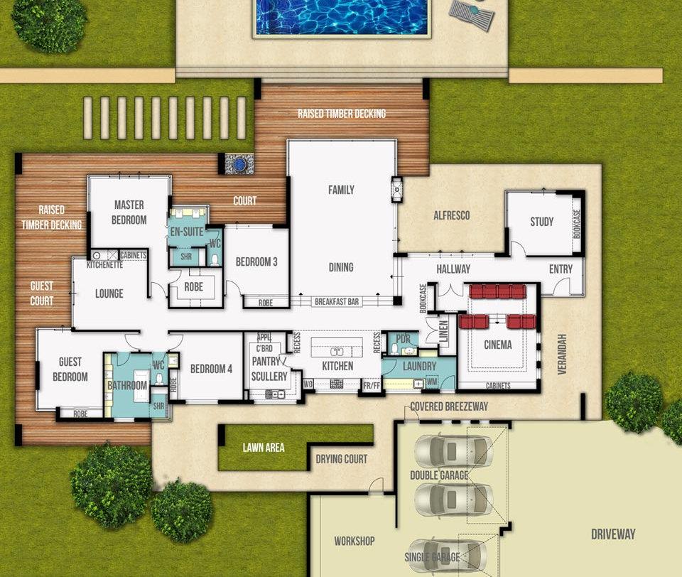 Single Storey House Floor Plan - The Grange by Boyd Design Perth