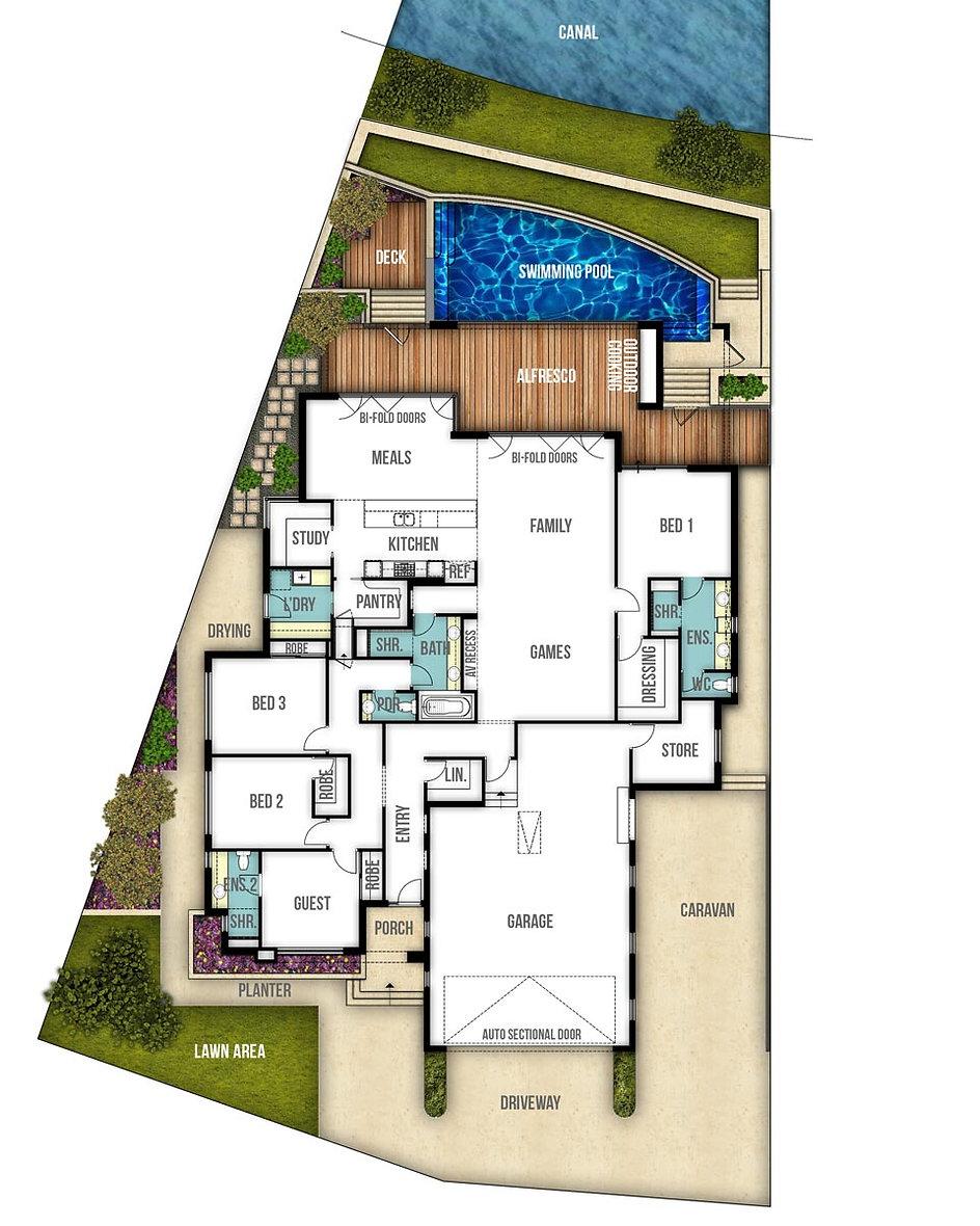 Single Storey House Floor Plan - The Rivrbank by Boyd Design Perth
