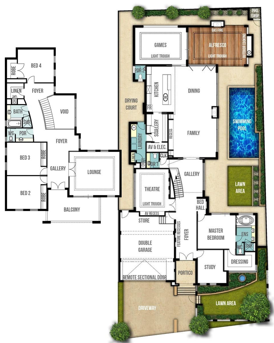 Two Storey House Floor Plans - The Breakwater by Boyd Design Perth