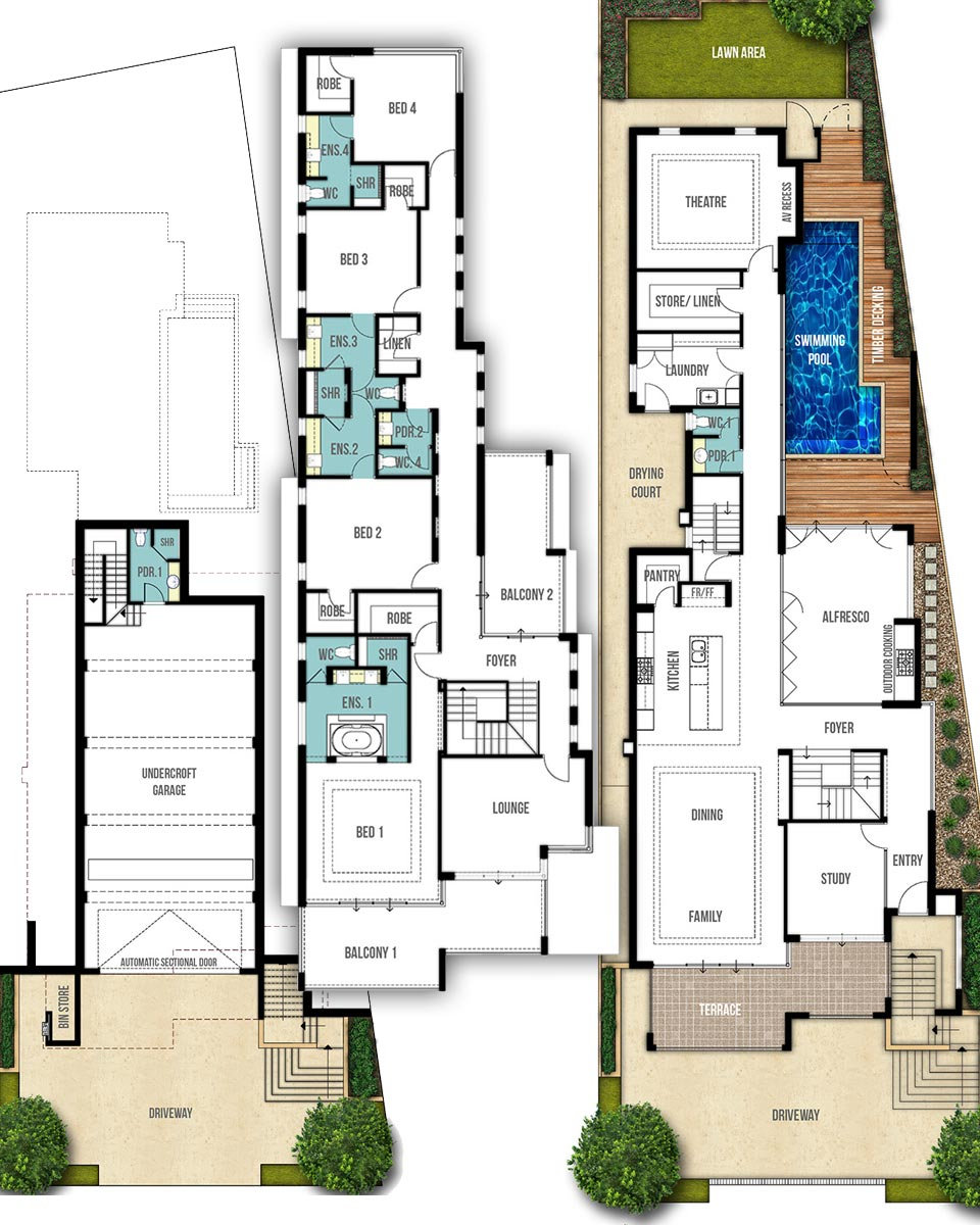 Three Storey House Floor Plans - The Coogee by Boyd Design Perth