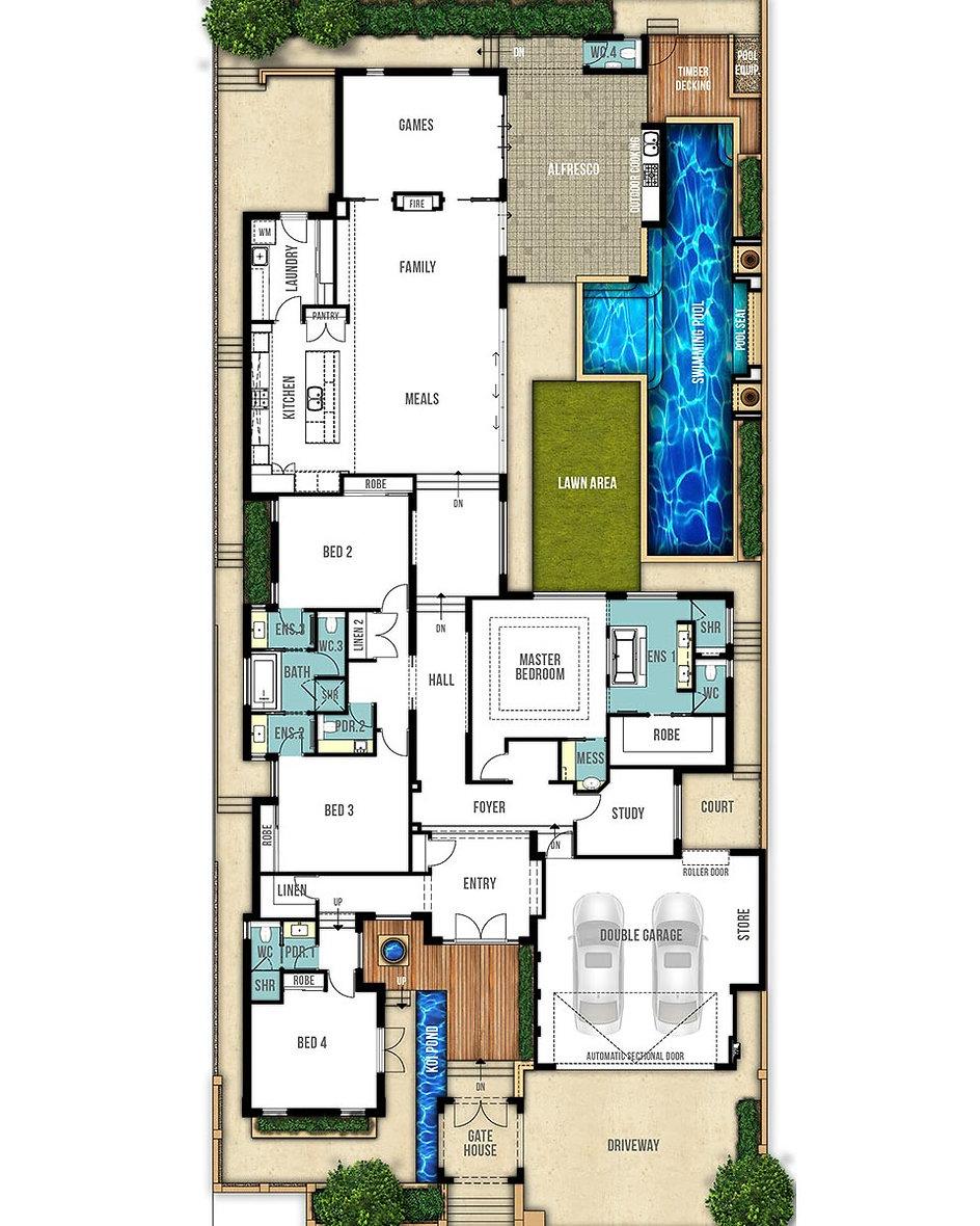 Split Level House Floor Plan - The Catherine by Boyd Design Perth