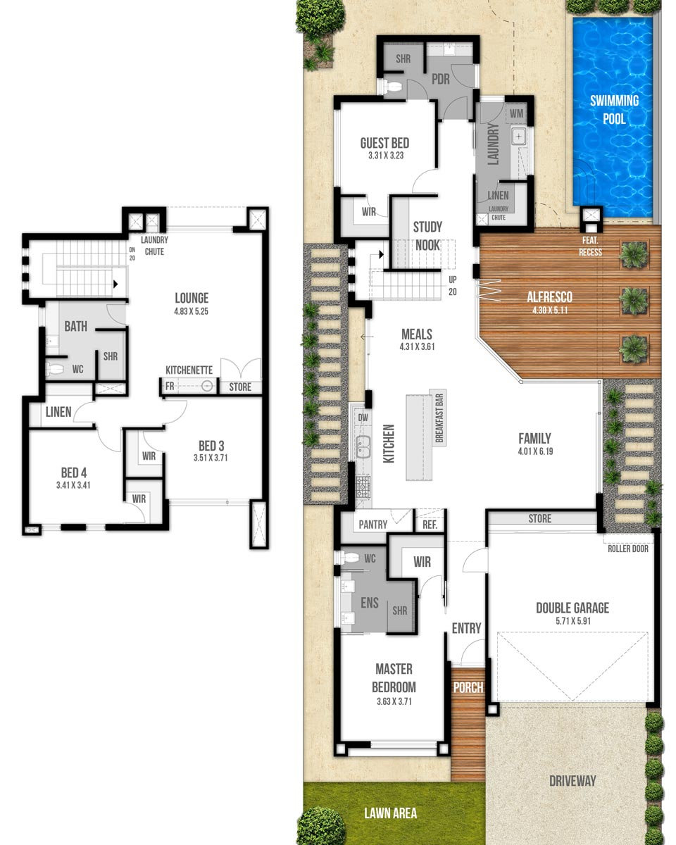 Two Storey House Floor Plans - The Edge by Boyd Design Perth