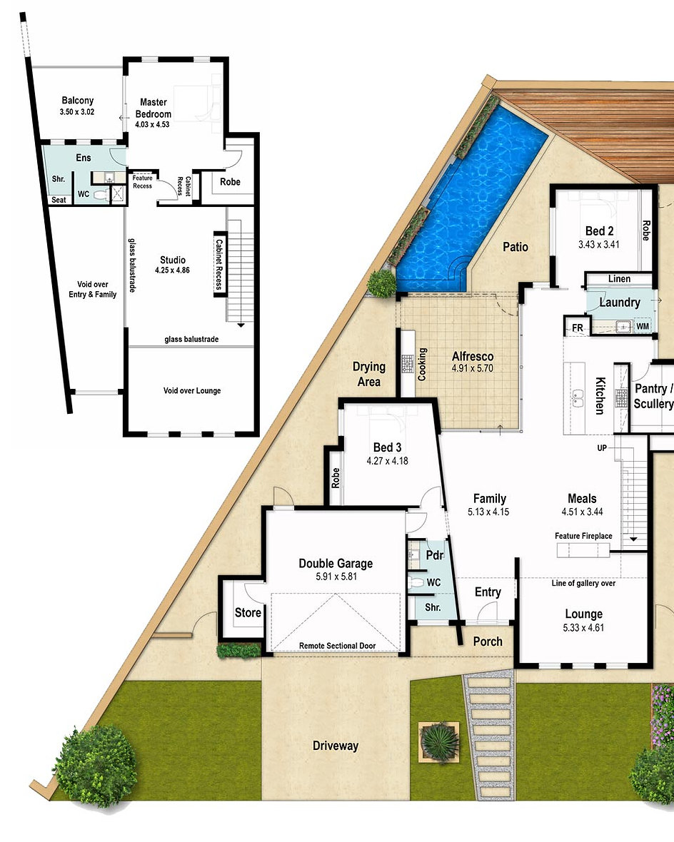 Two Storey House Floor Plans - The Trend by Boyd Design Perth