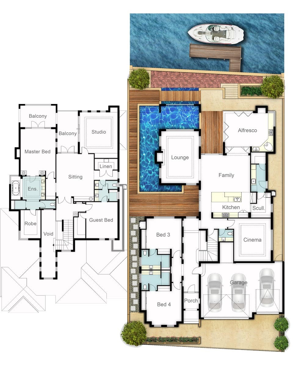 Two Storey House Floor Plans - The Dudley by Boyd Design Perth