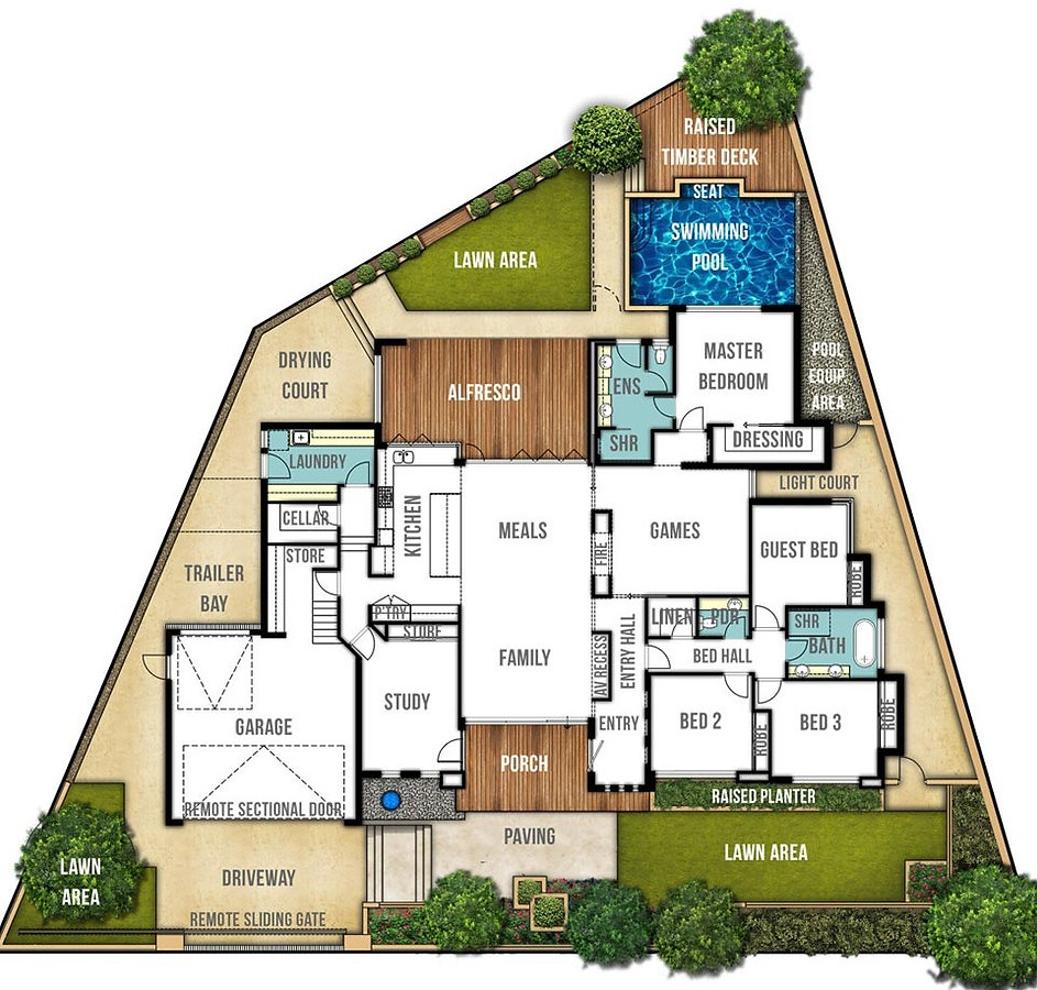 Split Level House Floor Plan - The Carine by Boyd Design Perth