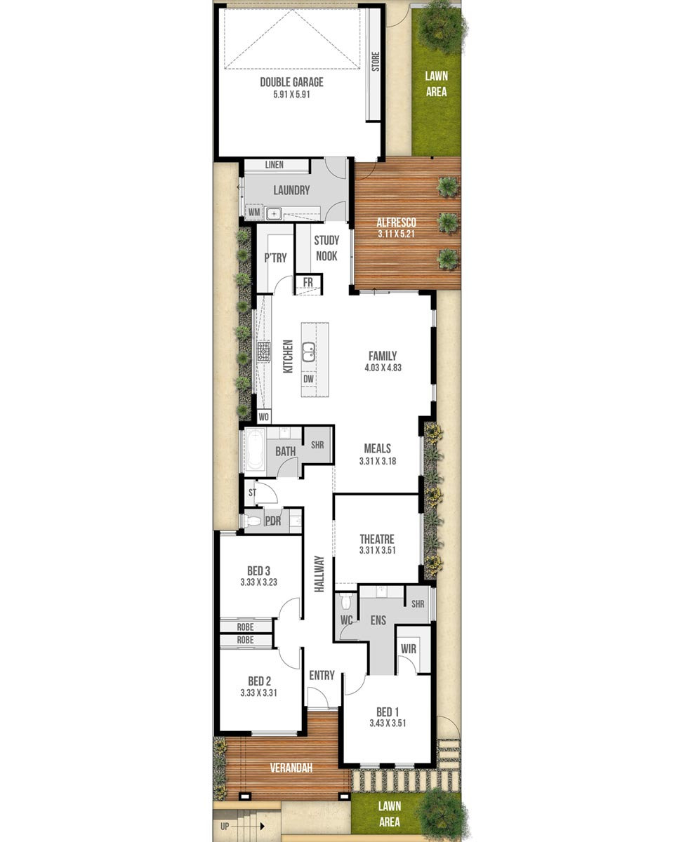 Narrow Lot House Floor Plan - The Colombia by Boyd Design Perth