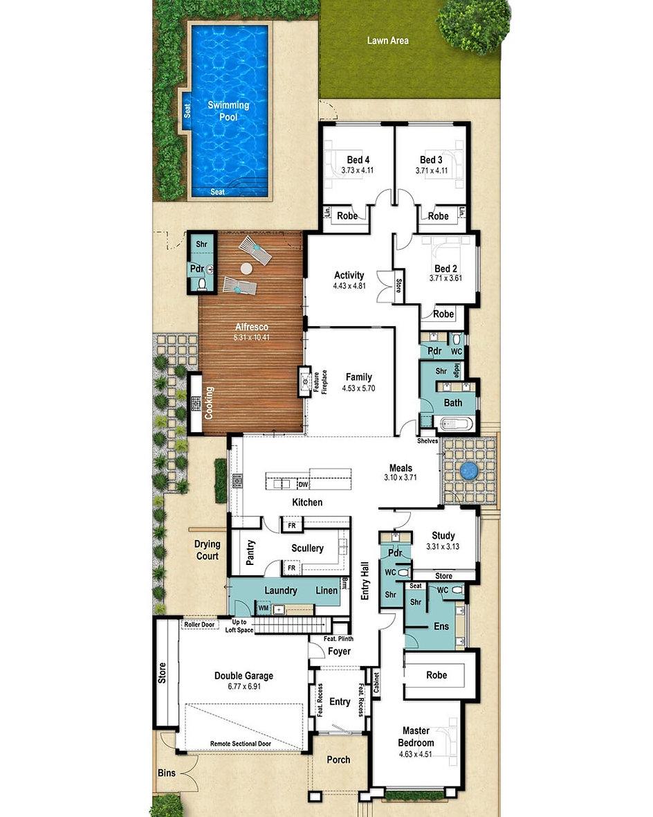 Single Storey House Floor Plan - The Floreat by Boyd Design Perth