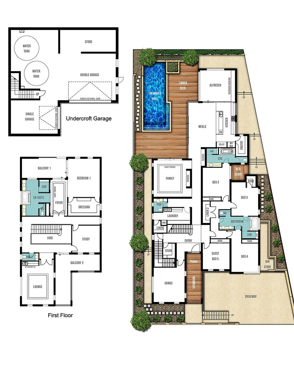 Three Storey House Floor Plans - The Sorrento by Boyd Design Perth
