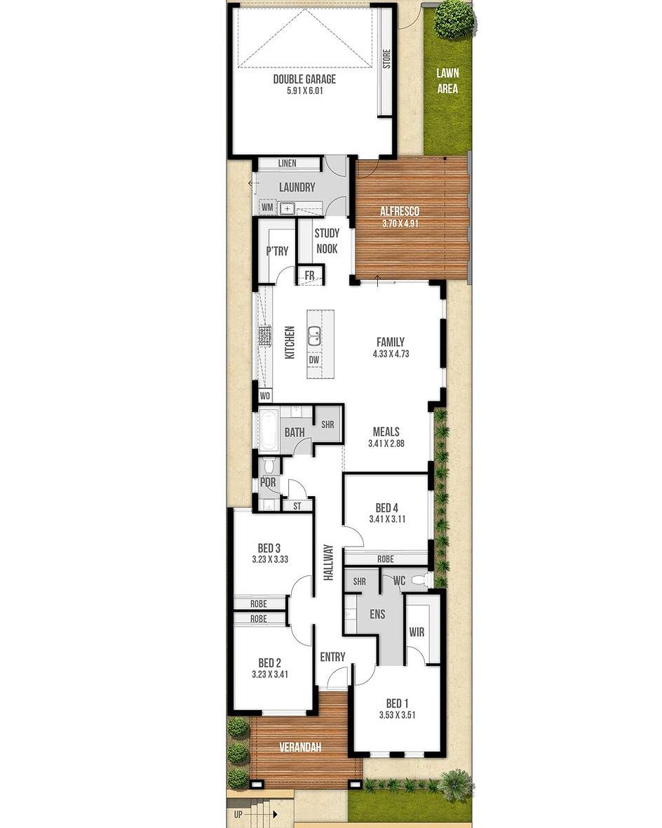 Narrow Lot House Floor Plan - The Casablanca by Boyd Design Perth