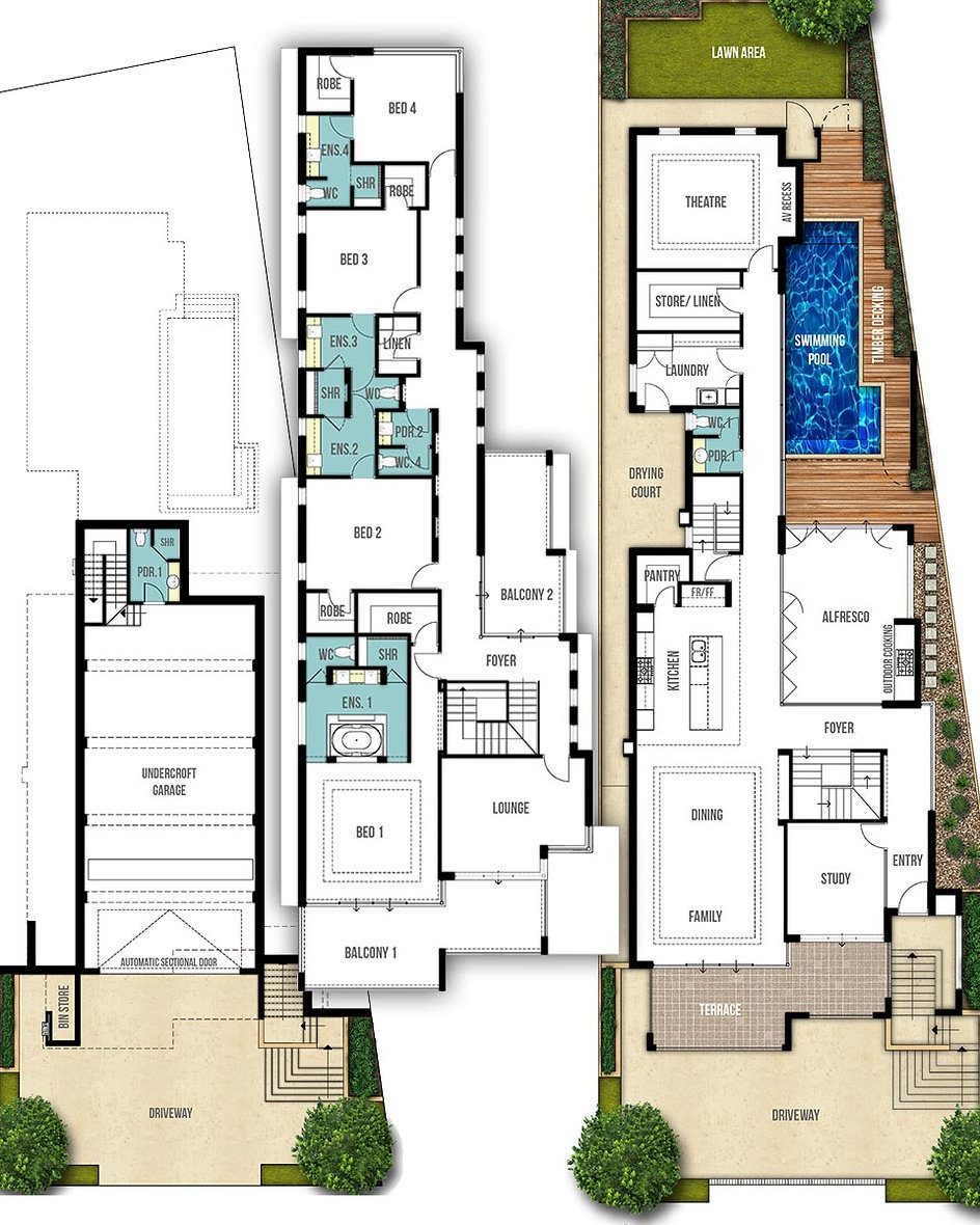 Undercroft GaragHouse Floor Plans - The Coogee by Boyd Design Perth