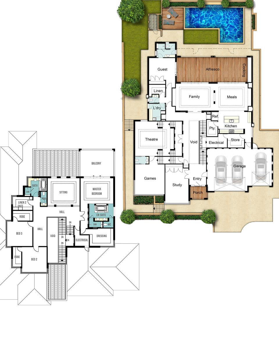 Two Storey House Floor Plans - The Woodland by Boyd Design Perth