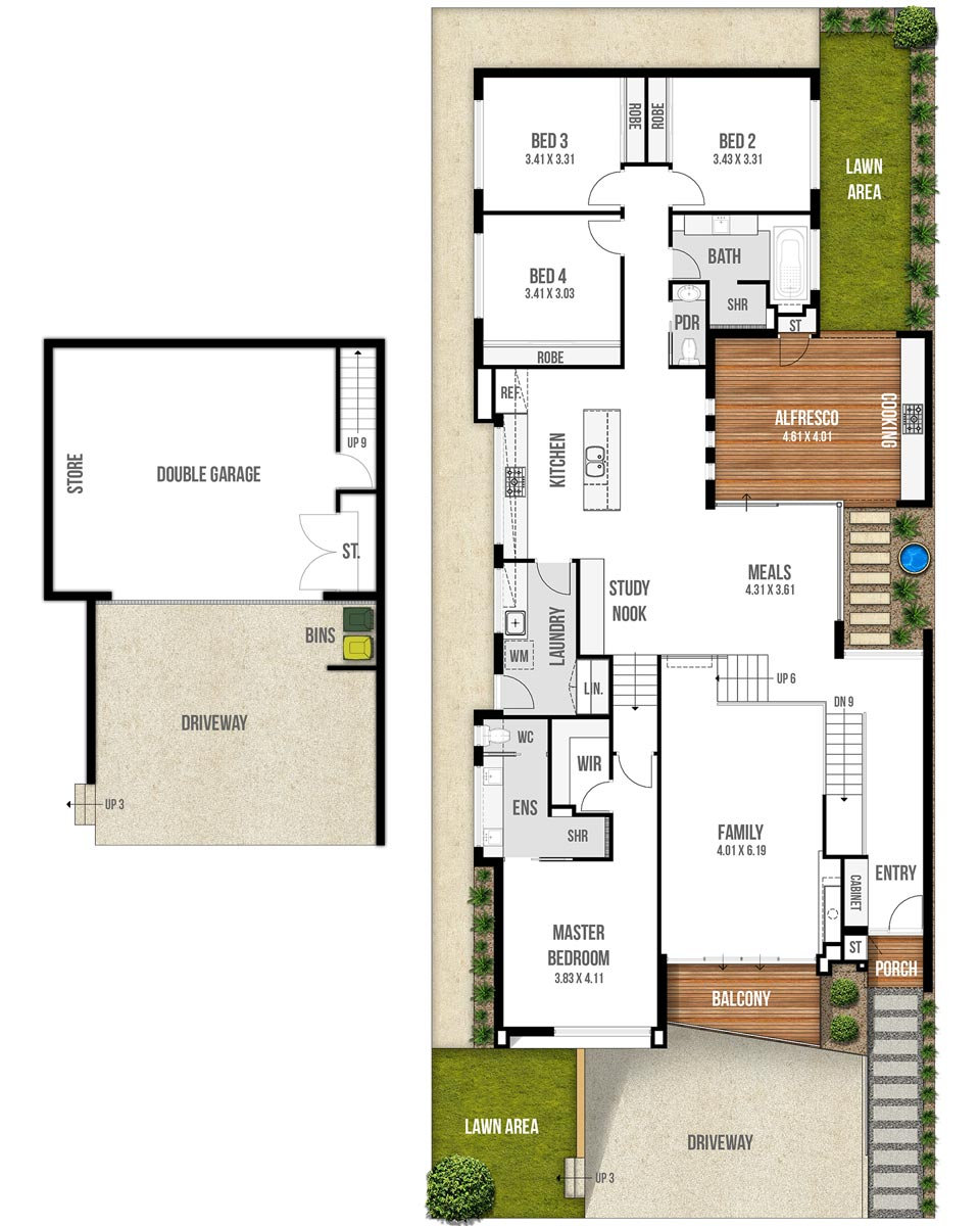 Undercroft Garage House Floor Plans - The Genesis by Boyd Design Perth