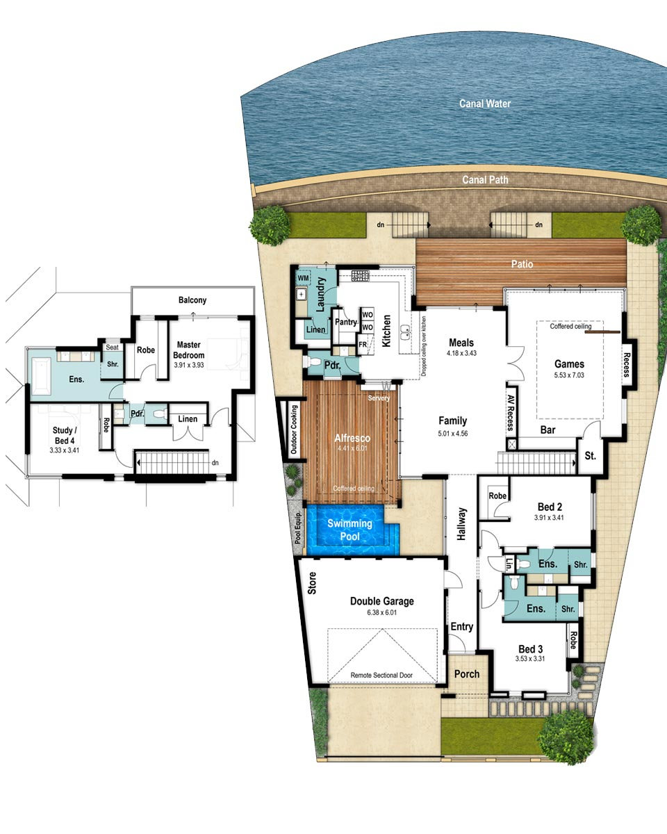 Two Storey House Floor Plans - The Sandpiper by Boyd Design Perth