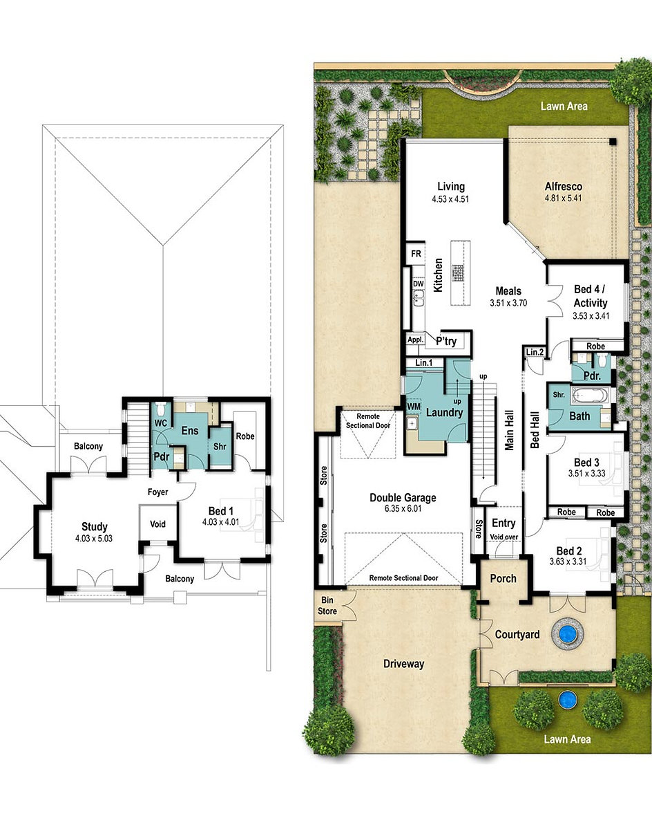 Two Storey House Floor Plans - The Lodge by Boyd Design Perth