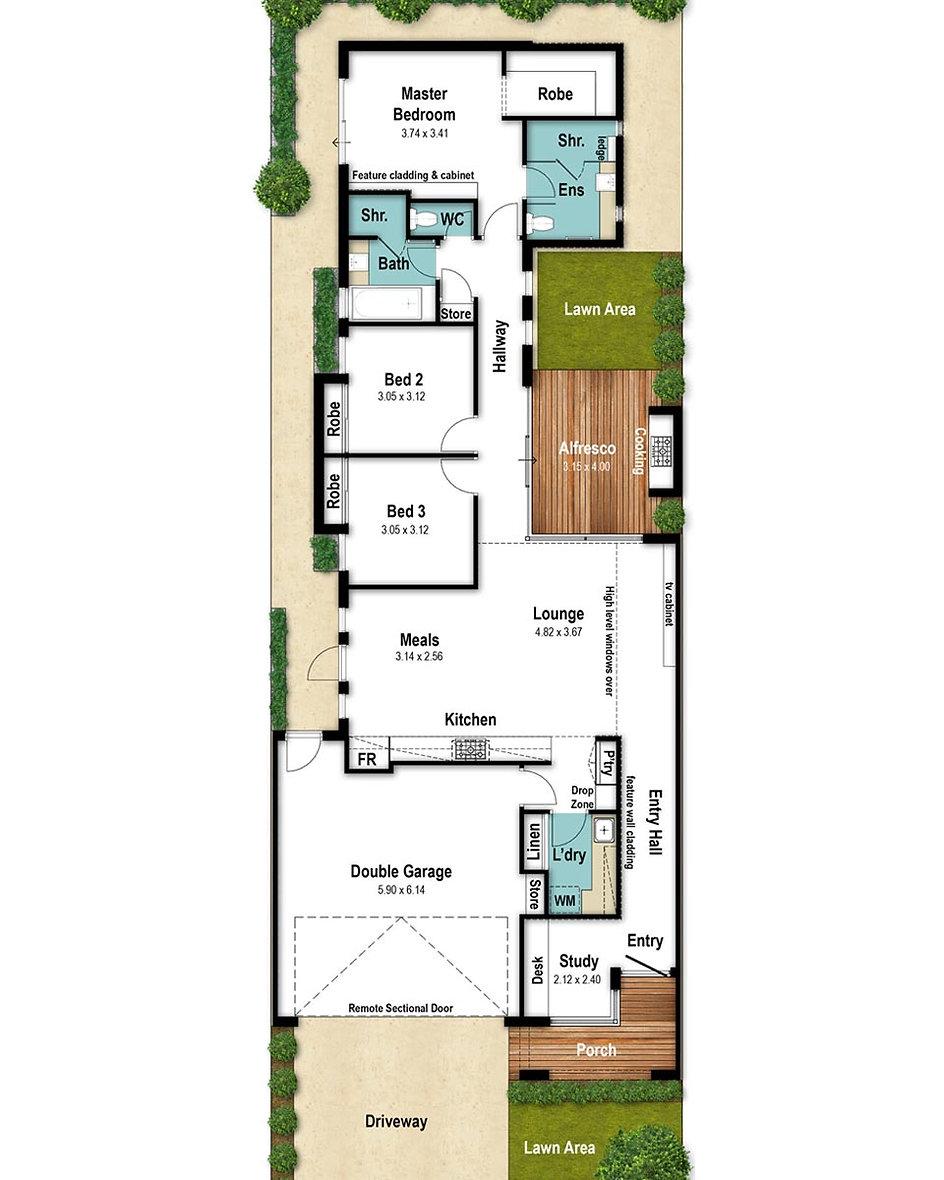 Narrow Lot House Floor Plan - The Newyorker by Boyd Design Perth