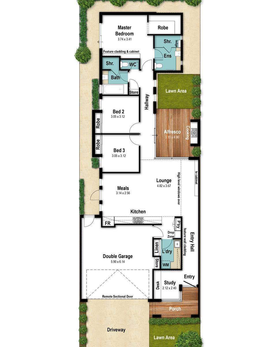 Narrow Lot House Floor Plan - The Newyorker by Boyd Design Perth