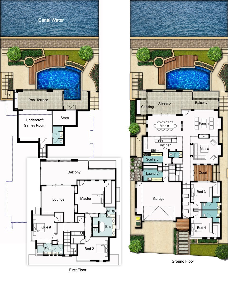 Three Storey House Floor Plans - The Reef by Boyd Design Perth