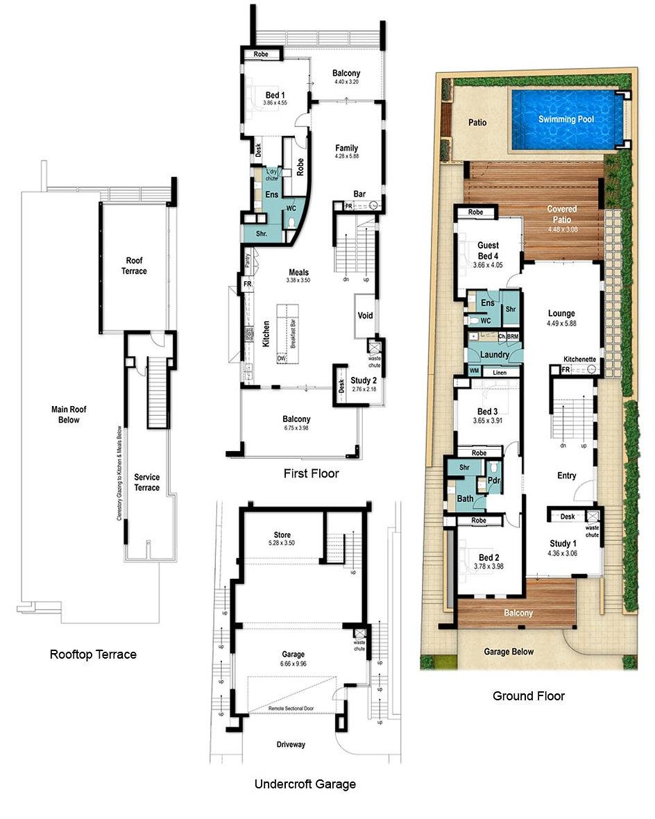 Three Storey House Floor Plans - The Terrace by Boyd Design Perth