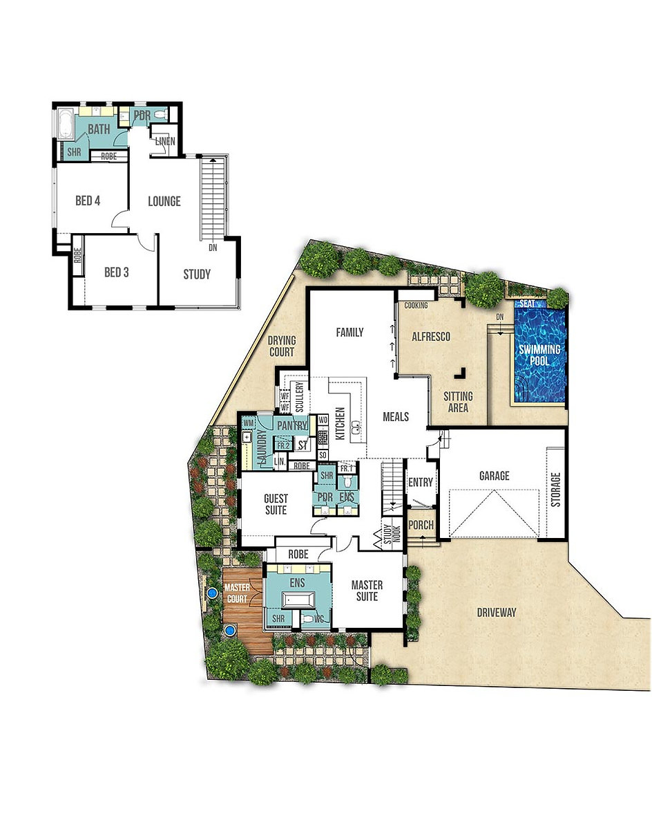 Two Storey House Floor Plans - The Toorak by Boyd Design Perth