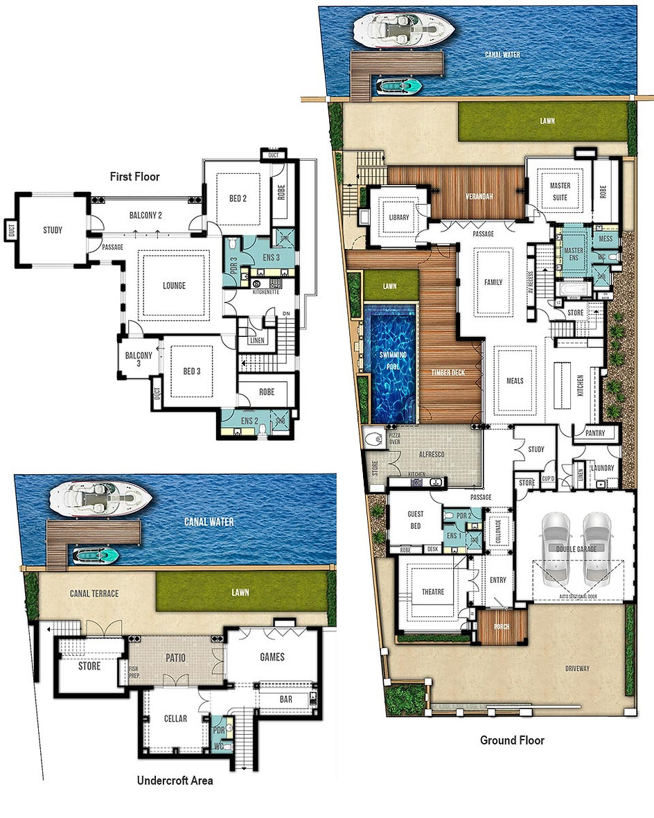 Canal House Floor Plans - The Panama by Boyd Design Perth