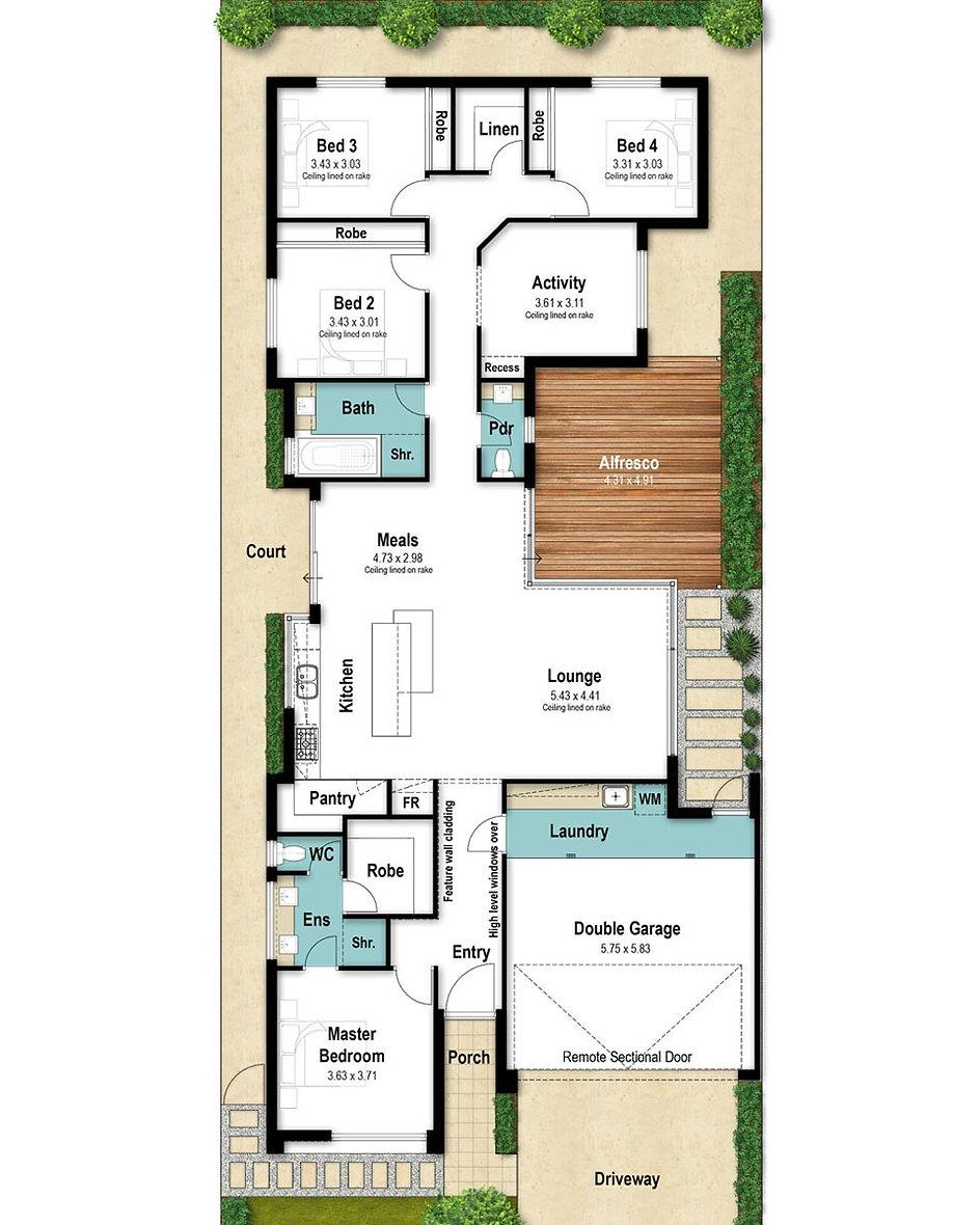 Narrow Lot House Floor Plan - The Destiny by Boyd Design Perth