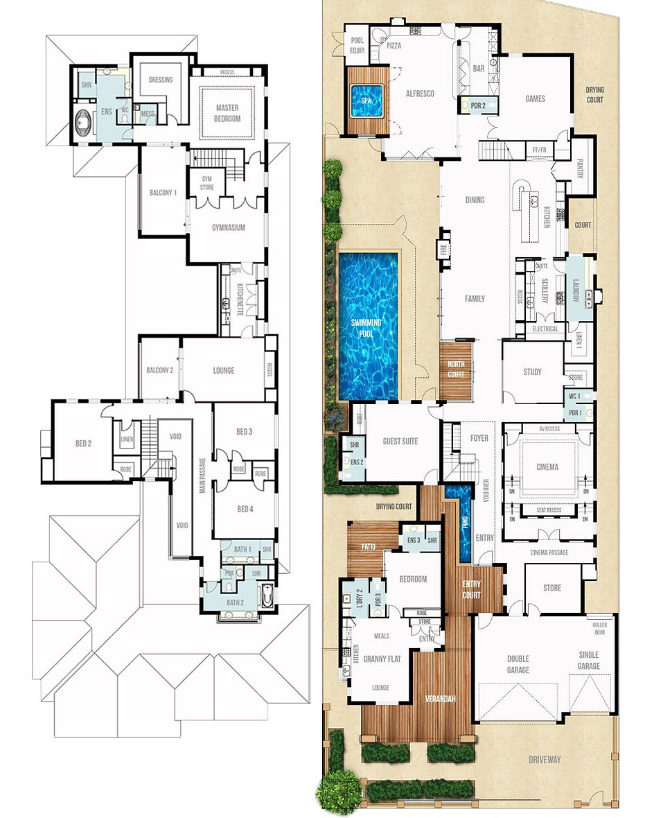 Two Storey House Floor Plans - The Heritage by Boyd Design Perth