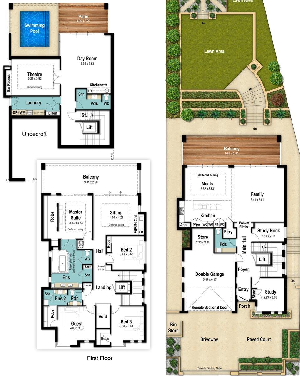 Three Storey House Floor Plans - The Vista by Boyd Design Perth