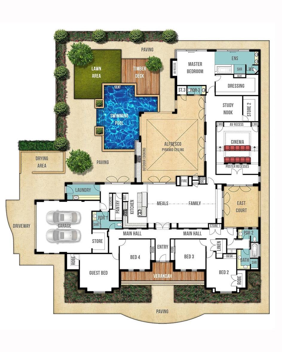 Single Storey House Floor Plan - The Farmhouse by Boyd Design Perth