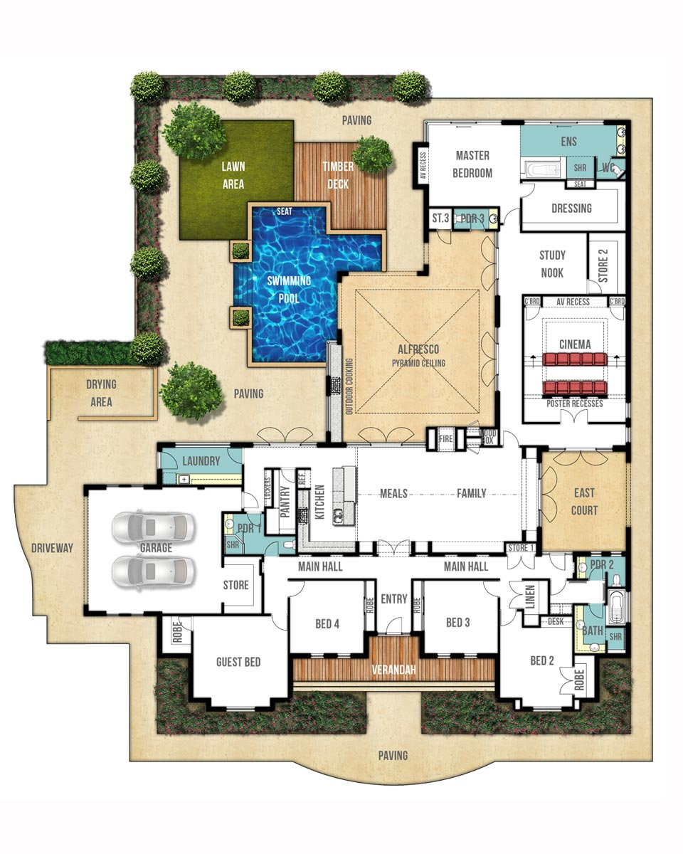 Single Storey House Floor Plan - The Farmhouse by Boyd Design Perth