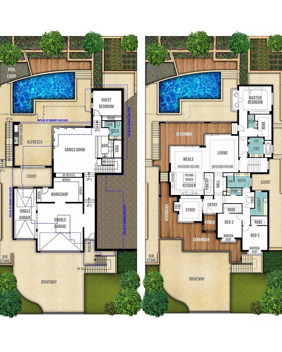 Split Level House Floor Plans - The Hampton by Boyd Design Perth