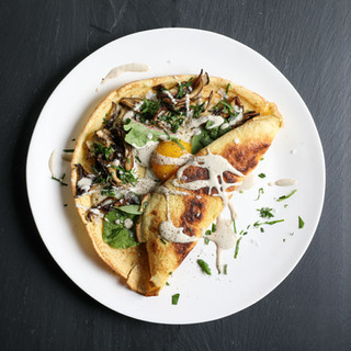 Foraged Mushroom Crepes with Sunny Egg a