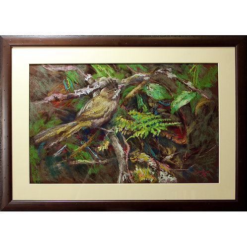 """""""The young whipbird"""" Pastel. 26 x 17 inches."""