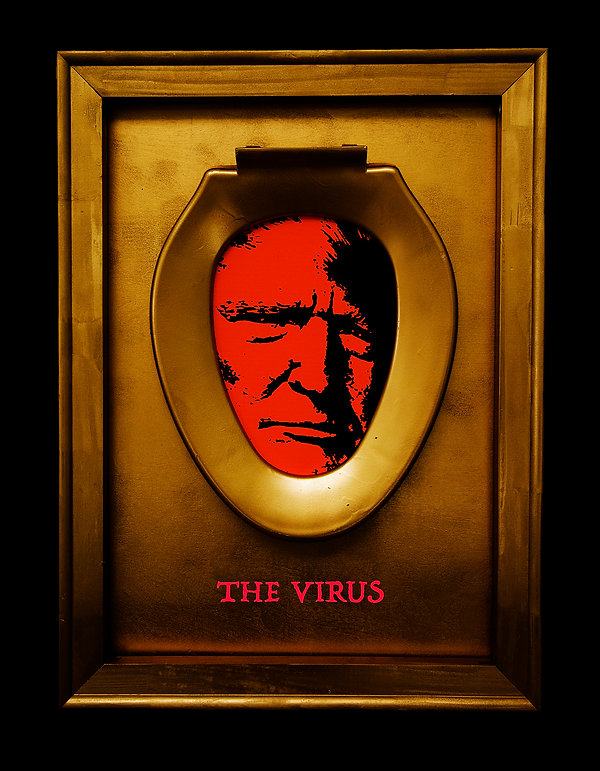 The Virus surrounding black 28x36 Flat c