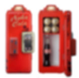 Red mini fridge front with faux coin slot, top light, and Nuka Cola logo. View with door open shows inside capacity for drink bottles or cans.