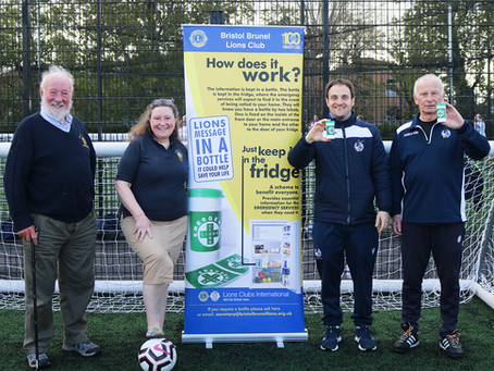 Bristol Brunel Lions Club donate 50 'Message in a Bottle' packs