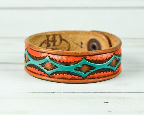 "3/4"" Bracelet, Aztec pattern, Turquoise_Orange"