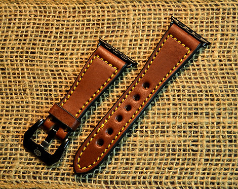 Leather watch band- English Bridle leather, Med.Brown with Yellow thre