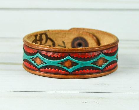 "3/4"" Bracelet, Aztec pattern, Turquoise_Red"