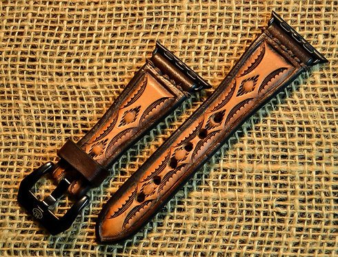 Leather watch band- Hand stamped Aztec design, Brown border