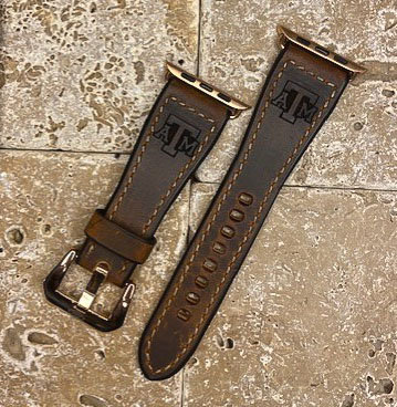 Leather Watchband- Distressed leather, Brown with TX A&M logo