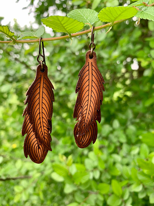 Double Leather Feather Earring - DBFTR/BR