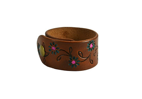 """1.5"""" cuff, Painted flower"""