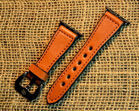 Leather watch band- English Bridle leather, Tan with Orange t